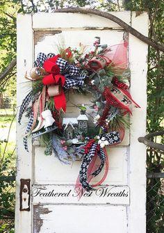 Christmas Wreath Wreath with Skates Christmas Door Decor Christmas Mesh Wreaths, Christmas Swags, Christmas Door Decorations, Magical Christmas, Cozy Christmas, Blue Christmas, Country Christmas, Winter Wreaths, Christmas Ideas