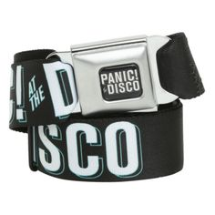 Panic! At The Disco Logo Seat Belt Belt | Hot Topic ($20) ❤ liked on Polyvore featuring accessories, belts, buckle belt and logo belt