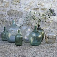 Welcome to La Boutique Vintage, where you can find the biggest collection of French Vintage Demijohns called Dame Jeanne. Find yours online now! Antique Glass Bottles, Vintage Bottles, Bottles And Jars, Vintage Perfume, Mason Jars, Perfume Bottles, Decorative Glass Bottles, Blue Perfume, Green Glass Bottles