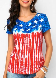V Neck American Flag Print T Shirt on sale only US$30.16 now, buy cheap V Neck American Flag Print T Shirt at liligal.com