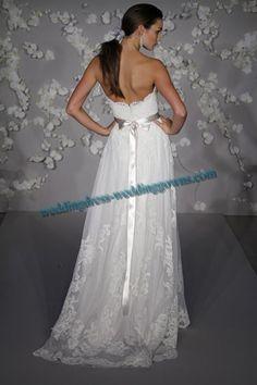 Wedding Dresses Ivory alencon lace net Sweetheart Neckline Sleeveless Floor-length Sheath f0186