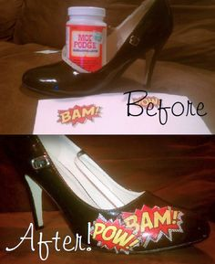 """Offbeat Bride featured a pair of comic book shoes. I looked at them and thought to myself """"Oh."""" Two days later, I had my first pair. A week or so later, I have Oops. Here's the low down on how to create your own custom shoes for nearly free. Comic Book Shoes, Comic Books, Comic Book Wedding, Shoe Crafts, Offbeat Bride, Painted Shoes, Diy Accessories, Custom Shoes, Refashion"""