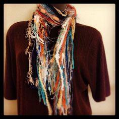 Fun scraggle scarf in fall colors