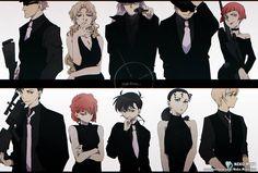 Meitantei Conan, Fan art, (top row) Korn, Vermouth (Sharon Vineyard), Gin, Vodka, Chianti (bottom row) Akai Shuichi, Haibara Ai, Kudo Shinichi, Kir (Hondo Hidemi), Bourbon (Furuya Ray)
