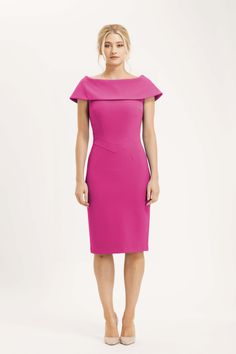 The Palermo dress is simply stunning. Fitted pencil dress silhouette, with wide off the shoulder collar which covers the shoulders beautifully. Hot Pink