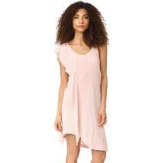 Wilt One Side Rufle Shift Dress (186 AUD) ❤ liked on Polyvore featuring dresses, pink salt, scoop-neck dresses, asymmetrical shift dress, sleeveless asymmetrical dress, pink asymmetrical dress and uneven hem dress