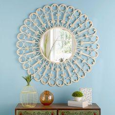 Miroir rond en rotin tressé D.90cm LOLA