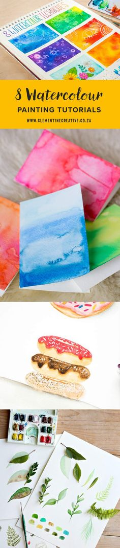 8 watercolour painting tutorials for beginners. From easy watercolour washes and techniques, to doughnuts, leaves, and feathers. Click the image to learn more.
