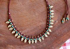 spiky ethnic necklace tribal necklace boho by yasminsjewelry