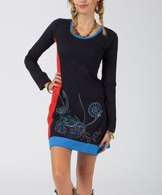 Loving this Black & Blue Floral Color Block Dress - Women on #zulily! #zulilyfinds