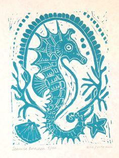 Seahorse Emblem Block Print by kirayustak on Etsy Seahorse Art, Seahorses, Stamp Carving, Sgraffito, Linocut Prints, Beach Art, Art Plastique, Art Lessons, Printmaking