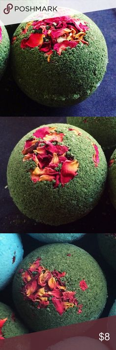 🖤🌹Enchanted Garden Bath Bomb🌹🖤 Handcrafted bath bomb made with organic extra virgin coconut oil and scented with rose and sandalwood essential oils. Starts green and turns black in water! Smells amazing and leaves skin feeling soft. Bundle to save! This item can also be purchased through my Etsy shop Aqua Oasis Bath and Body. Also, if you'd like, please follow my page on Instagram. About the size of a tennis ball. Just place in water and relax. 🛀🏼😌 Aqua Oasis Bath and Body Makeup