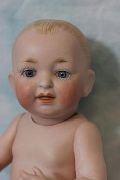 "8"" German Kestner All Bisque Baby Doll with Solid Dome swivel Head from turnofthecenturyantiques on Ruby Lane"