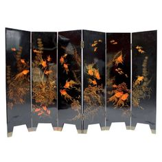 Goldfish Japanese Lacquer Screen | From a unique collection of antique and modern paintings and screens at https://www.1stdibs.com/furniture/asian-art-furniture/paintings-screens/