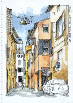 Enjoy These Cityscapes In The Form Of Urban Sketches: 40 Beautiful Locations - Bored Art Travel Sketchbook, Arte Sketchbook, Watercolor Architecture, Architecture Drawings, Urban Architecture, Urban Sketchers, Pen And Watercolor, Watercolor Landscape, Watercolor Trees