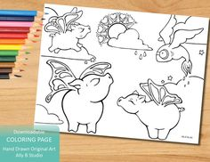 When Pigs Butterfly - Coloring Page Downloadable