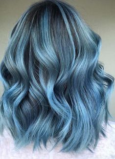 Gorgeous Smokey Blue Balayage Hairstyles for Women - Hair Color Trends - cheveux Hair Color Shades, Hair Dye Colors, Ombre Hair Color, Cool Hair Color, Hair Colour, Aesthetic Hair, Dye My Hair, Cool Hair Dyed, Dyed Hair Blue