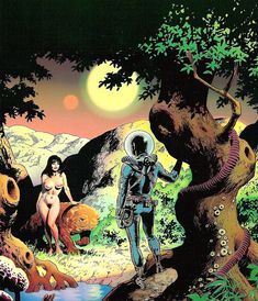 Wally Wood, Adam and Eve, used for the cover of Naughty Knotty Woody. Sci Fi Comics, Horror Comics, Frank Frazetta, Sci Fi Horror, Soul Art, Adam And Eve, Vintage Comics, Fantastic Art, Fantasy Artwork