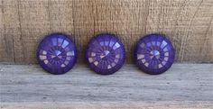 """3 Vintage Disco Design Purple Shank Buttons 1"""" #vintage #disco #vintagebuttons #buttonitupvintage"""
