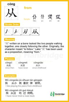 "Hanbridge Mandarin Study Card--Chinese character ""从"", the common phrase is ""从小"" (since childhood)"
