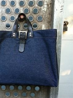 Raw Denim Tote. Handmade in USA. greengaragestudio.com