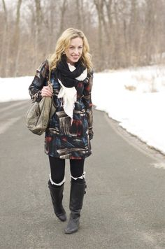 water color dress and layered scarves