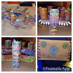 Native American totem pole craft- used toilet paper rolls as a base. The kids loved making these in kindergarten and first grade.