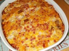 Amish Ham Casserole - 1 lb ham, cubed 1 med onion, chopped - optional 6 eggs 2 or 3 baked potatoes, diced into chunks* 2 cups shredded Cheddar and Colby Jack cheese 1 cups small curd cottage cheese Dutch Recipes, Pork Recipes, Great Recipes, Cooking Recipes, Favorite Recipes, Interesting Recipes, Potato Recipes, Diced Ham Recipes, Juicing