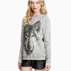 animal wolf pullover sweatshirt for women gray zipper sweatshirt winter wear