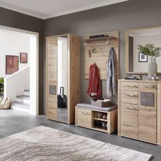 """Luxusní předsíňový nábytek v elegantním dřevitém dekoru dubu Artisan s ozdobnou aplikací """"Caspio tmavý"""" na dveřích. Volitelné samostatné elementy nebo sestava. Vestibule, Entryway, Furniture, Software, Home Decor, Products, Glamour, Chair Pads, Engineered Wood"""