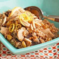 We love the addition of bulgur (a high-fiber whole grain) to juicy chicken and sweet dried fruit in this recipe.