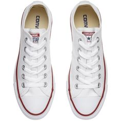 Converse Chuck Taylor All Star Canvas Ox Low-Top Trainers , White found on Polyvore featuring shoes, sneakers, converse, chaussures, low profile shoes, converse sneakers, low top sneakers, white trainers and flat shoes