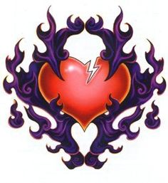 Purple Flames Heart Temporaray Tattoo by Tattoo Fun. $4.95. Purple flames surround a red heart with a crack. Hearts. Temporary tattoo. Sheet size 2 3/4x 4. Tattoo size 2 1/2x 2 1/2.