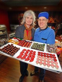 The Chocolate Chisel, Port Washington, WI.  Proprietor Elizabeth MacCrimmonand Chocolatier John Reichert