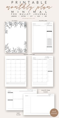 This minimal monthly kit printable will help you to stay organized for the whole month. It contains: covers, monthly plan, monthly overview, mood, sleep and habit tracker, weekly plan, meal plan, grocery list and blank notes page. #bulletjournal #printable #monthly #planner #plannercommunity #adludesign