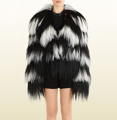 This costs more than I paid for my vehicle! Gucci - black and white striped fur jacket 355789XG0521070
