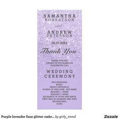 Purple lavender faux glitter ombre wedding program