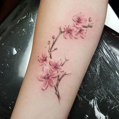 Been terrible at posting lately, realized I never posted these sweet little cherry blossoms I did on the lovely Allison. Thanks for looking! #tattoo #cherryblossomtattoo #floraltattoo