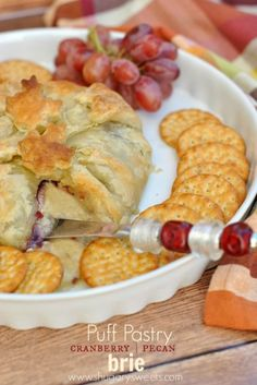 Puff Pastry Wrapped Brie with Cranberry and Pecan