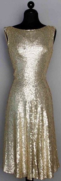 SILVER SEQUIN COVERED PARTY DRESS, 1950s