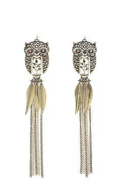 Fringe Owl Earrings