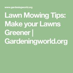Lawn Mowing Tips: Make your Lawns Greener | Gardeningworld.org