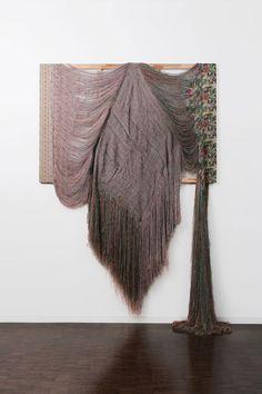 Rewoven 2005  Unravelled fabric, wooden frame 241 x 194 cm Installation at @Kristen Cua Gallery, Kyoto Art University of Ars, Kyoto, Japan Photo: Takeru Koroda