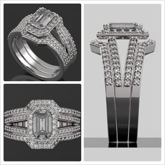 """Want to WIN up to $3000 towards creating your dream engagement or wedding ring? Say """"I Do!"""" with this stunning custom design giveaway from Brilliance! Join our custom ring sweepstakes here:  http://blog.brilliance.com/contest/custom-ring-contest (In photo: The custom diamond halo split shank engagement ring with diamond enhancer bands in 14K White Gold; $3,395 -- Emerald-cut center, diamond ring setting)"""