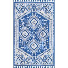 nuLOOM Flatweave Tribal Diamond Dragon Cotton Tassel Blue Rug (5' x 7') - 17878851 - Overstock - Great Deals on Nuloom 5x8 - 6x9 Rugs - Mobile