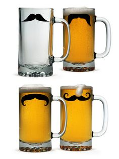 I WANT THESE... Moustache Theme Beer Mug (Set of 4) by Susquehanna Glass Co. on Gilt Home