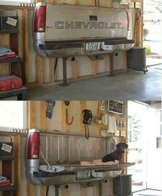 Cool garage idea   BUT   JUST USE TAILGATE CABLE AND PINS ON A STURDY WOODEN TABLETOP     BRAD My Man, Cool Items, Mailbox, Man Cave, Shoe Rack, Garage, Shelves, Cool Stuff, Junk Yard