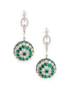 Emerald green and clear rhinestone cushion setting earrings with pave chain link detail