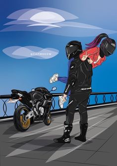 This drawing is fire Wallpaper Casais, Cartoon Wallpaper, Bike Couple, Cute Love Images, Bike Photoshoot, Bike Drawing, Bike Pic, Bike Illustration, Motorcycle Wallpaper