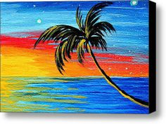 painted trees on canvas | Palm Tree Painting Tropical Goodbye By Madart Stretched Canvas ...